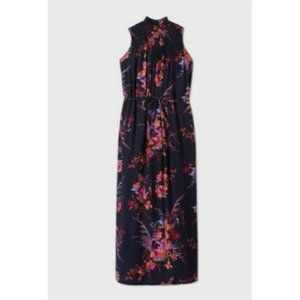 Sleeveless  floral smocked Trapeze Dress - A New D